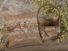 Flower Girl Natural Birch Bark Basket & Burlap Ring Bearer Pillow Set, Shabby Chic Burlap Rustic Basket , Embroidery Names on Etsy, $75.00