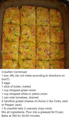 Omit the onions add a can of Rotel. Crawfish Recipes, Cajun Recipes, Seafood Recipes, Cooking Recipes, Haitian Recipes, Donut Recipes, Sandwich Recipes, Crawfish Cornbread, Crawfish Bread