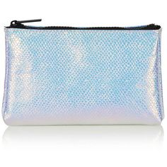 TopShop Holographic Make-Up Bag (€10) ❤ liked on Polyvore featuring beauty products, beauty accessories, bags & cases, purses, multi, wash bag, make up purse, topshop, travel kit and makeup purse
