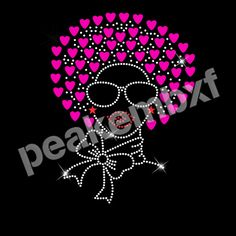 Rhinestone Heat Transfers Wholesale Afro Girl Beautiful New Design 30 pcs