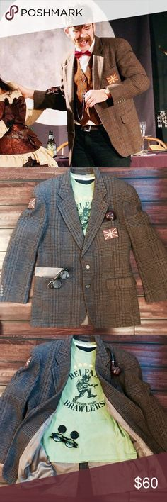 """Dapper Steampunk Doctor Who Jacket / Blazer This jacket is supreme. Worn by """"H.G. Wells"""" in a steampunk murder mystery production (see pic). The added patches are British Union Jack Desert Storm patches. In excellent condition. Detailing is very close to Matt Smith's most famous. Looks great with a vest and pocketwatch. I have pocketwatch chains I can list more quickly for interested parties. My measurements (in inches): Chest 42, Waist 40, Shoulder 19, Length 30.5, Sleeves 24. Allonsy! J.G…"""