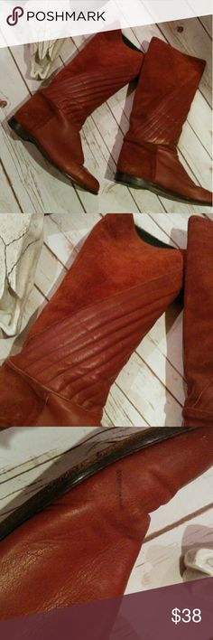 70s vintage boots Great vintage boots in tan leather and suede. Good vintage condition with some marks on the outside and wear to the lining which does not effect the overall look of the boots. Vintage Shoes