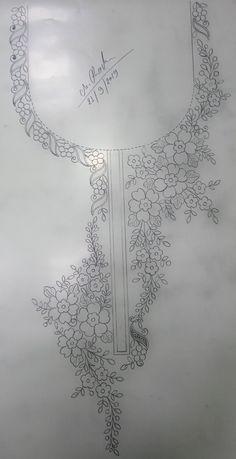 تطريز Hand Embroidery Patterns Flowers, Border Embroidery Designs, Hand Embroidery Stitches, Crewel Embroidery, Machine Embroidery Designs, Zardozi Embroidery, Hungarian Embroidery, Indian Embroidery, Embroidery Suits