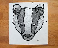 Badger // Original Illustration by AmyRowenaRose on Etsy