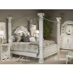 $9,122.00 AICO Furniture - Monte Carlo II 8 Piece California King Poster Bedroom Set in Silver Pearl - N53000CKPCAN-03-8Set