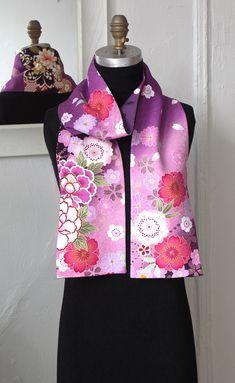 Amazing Japanese Vintage Versatile Scarf, Vintage Silk Kimono Scarf, Yuzen-dyed fabric, Flowers, Pink by Wabiske