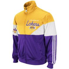 NBA Men's Los Angeles Lakers Jam Track Jacket (Gold/Purple, Medium) The Jam Track Jacket Is A Hot New Fashion Jacket For Basketball Fans, Made By Adidas, The Official Outfitter Of The NBA
