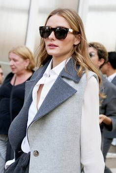gray coat white t-shirt formal style women fashion autumn aioad.com  $15.99  OMG.....newest spring rayban glasses.....want it. love it.#rabban fashion#