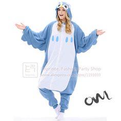 e63f26bd23 Adult Blue  Owl  Onesie Cosplay Costume Fleece Winter Sleepwear Anime  Pajamas Cute Onesie Unisex