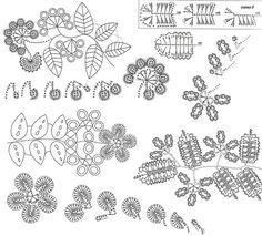 В стиле ирландских мотивов - fleurs feuilles etc. + diagrammes