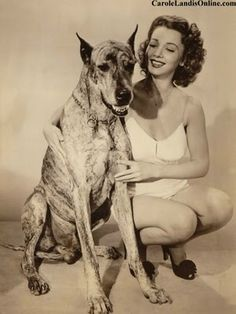 Carole Landis and her Great Dane Donner.