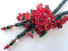 真っ赤な小花満開お花畑ネックレス   -   Red floret full bloom flower garden necklace