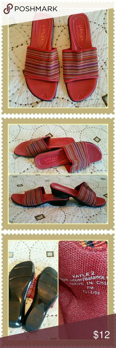 LIZ FLEX Slip-on Sandles Stretchy striped fabric upper, has every color in the rainbow and more. LIZ FLEX  by Liz Claiborne has flex zones on the front underside of the sole. Perfectly used condition. Liz Claiborne Shoes Sandals