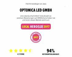 Optonica LED GmbH ist zu Local Hero 2017 von HEROLD gekront! Danke für Ihr Vertrauen und Ihre Weiterempfehlungen!