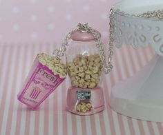 Popcorn Necklace  Pink Popcorn Machine Necklace   by Dleesnow