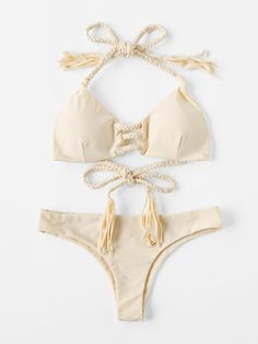 2e897feb94f34 SheIn offers Braided Strap Tassel Tie Bikini Set more to fit your  fashionable needs.