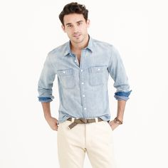 wallace and barnes distressed denim shirt
