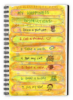 "My Happiness Instructions ~ Love the list! Some easy ""getting started"" journaling inspiration. journal prompts, journal idea, kid art, art journals, journal happi, happiness, happi list, kids, art projects"