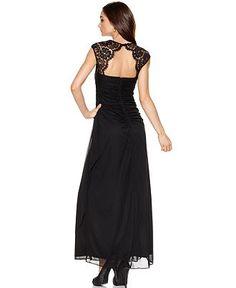 Xscape Dress, Cap Sleeve Lace Draped Shawl - Womens Dresses - Macy's  I like the back / neckline, i think the lace works with the vintage theme