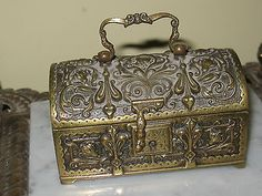 #Antiques #Gifts ANTIQUE GERMAN ORNATE FLORAL BRONZE JEWELRY BOX CHEST by Erhard #Collectors
