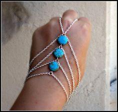 silver slave bracelet turquoise