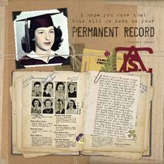 "6 tips for perfect memorabilia scans.    ""Permanent Record"" digital scrapbook layout by Pattie Knox, as seen in The Best of Digital Scrapbooking from Creating Keepsakes magazine.  #scrapbook #scrapbooking #creatingkeepsakes"