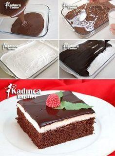 Wet Sponge Cake Recipe, How To - tatlılar - Cake Recipes, Dessert Recipes, Desserts, Pasta Pie, Pudding Cake, Turkish Recipes, Yummy Cakes, Cupcake Cakes, Cake Decorating