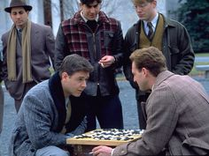 "Russell Crowe and Josh Lucas play the game Go in a scene from ""A Beautiful Mind.""  2002 photo by Eli Reed, AP"