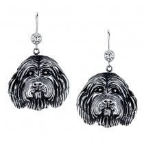 BEARDED COLLIE EARRINGS #ER-38  | These earrings are available in all breeds! | Retail Price: $99.95 | 925 Sterling Silver | Each earring has a small bezel set CZ on top of the dog bead. Please note that these earrings can be special ordered in 10k, 14k or 18k gold. Hand-crafted in the USA, Available at ANDREW GALLAGHER JEWELERS, Newark, DE 302-368-3380. We Ship!