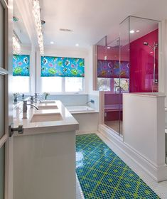 Awesome pink shower in bathroom by designer Holly Dyment - Photography Philip Castleton