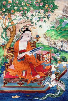 Nagarjuna receiving the Heart Sutra sacred texts from Nagas (divine water beings)