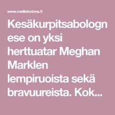 Kesäkurpitsabolognese on yksi herttuatar Meghan Marklen lempiruoista sekä bravuureista. Kokeile sinäkin tätä internetin villinnyttä kuninkaallista pastaa! Meghan Markle