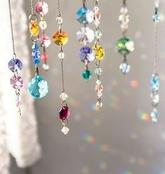 Give a Wedding Gift that Lasts with Personalized Wind Chimes Finding that perfect wedding gift is no picnic. Mobiles, Crafts To Make, Diy Crafts, Beaded Curtains, Crystal Curtains, Window Curtains, Hanging Crystals, Wire Art, Light And Shadow