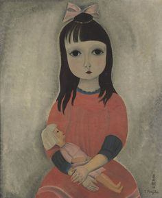 Tsuguharu Foujita (1886-1968). Fillette à la poupée, 1918, oil on canvas, 60.6 x 50.2 cm
