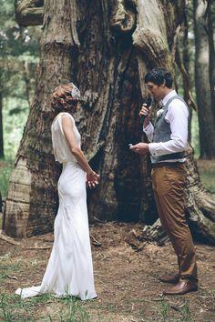 Dress love.  Sarah Kinghorn. Photography: Jessica Yaeger Photography - www.barebambino.com.au  Read More: http://www.stylemepretty.com/australia-weddings/2014/02/26/kuitpo-forest-wedding/