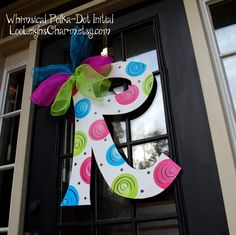 Door Hanger, Initial, Summer Wreath. $45.00, via Etsy.