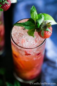 Packed with strawberries and mint, with plenty of fizz, this white rum cocktail is so refreshing! A strawberry mojito is super simple to pull together! Most Popular Cocktails, Fun Cocktails, Cocktail Drinks, Fun Drinks, Cocktail Recipes, Beverages, Liquor Drinks, Party Drinks, Drink Recipes