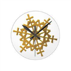 "#Golden ""3-D"" #Snowflake Wall Clock....#clocks #wallclocks #interiordecorating #interiordesign #RoseSantuciSofranko #Artist4God #forsale  #timepieces"
