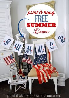 Printable SUMMER banner - Patriotic Red White Blue - www.foxhollowcottage.com @Fox Hollow Cottage