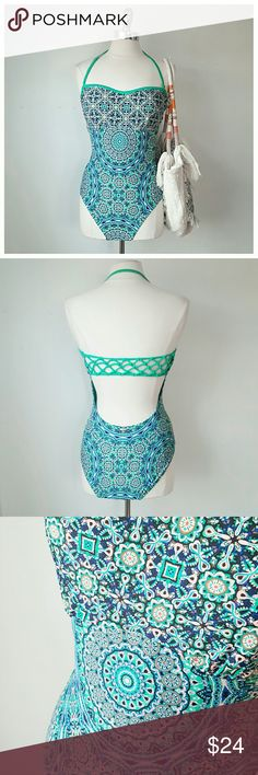 Jessica Simpson One piece Swimsuit- NWT - NEW WITH TAGS  - Jessica Simpson  - Teal ground, blue/pink/black - Nylon, spandex  - Size Large (according to Jessica Simpson Size chart on Macys.com - chest 39in, waist 31in, hip 41in)  - Removable adjustable strap, sewn in cups, crochet back detail, mandala tile print Jessica Simpson Swim One Pieces