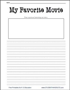 why i like fridays writing prompt printable worksheets for  movie essay topics k 2 my favorite movie printable writing prompt worksheet