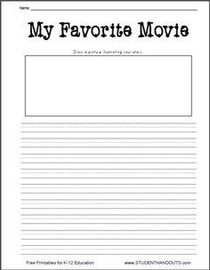 K - 2 My Favorite Movie Free Printable Writing Prompt Worksheet