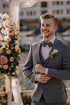 Bow Tie Wedding, Wedding Groom, Wedding Attire, Groom Outfit, Groom Attire, Best Groom Suits, Gold Bow Tie, Blonde Guys, Men's Grooming