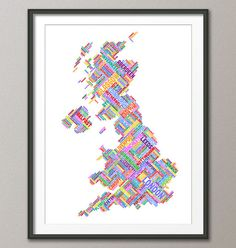 Great Britain UK City Text Map Art Print 303 by artPause on Etsy
