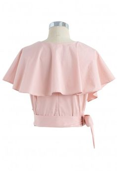 Appealing Sweet Frilling Crop Top in Pink - Retro, Indie and Unique Fashion Girls Fashion Clothes, Girl Fashion, Fashion Dresses, Stylish Dresses, Trendy Outfits, Girl Outfits, Crop Top Designs, Blouse Designs, Girls Crop Tops