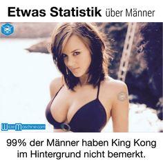 Statistik über Männer - King Kong oder Frau mit großen Brüsten -Fun Facts
