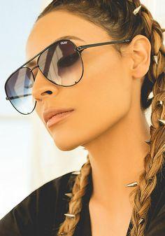 Quay x Desi Perkins High Key Aviator Sunglasses in Black/Fade - New
