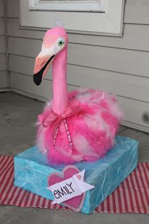 Paper Mache Flamingo Valentine Box.  So proud of this!  My little girl is going to have to have the coolest box ever!