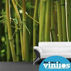 mural decorativo en vinilos de bambu