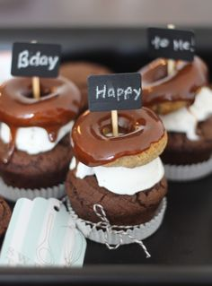 Caramel Donut & Ice Cream Topped Chocolate Birthday Cupcakes | paleOMG